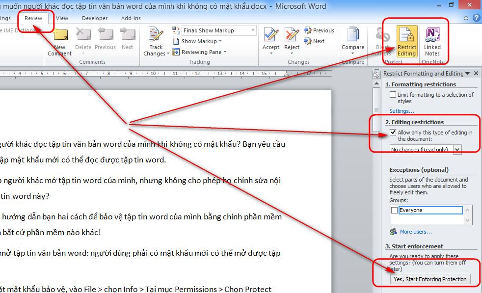 giới hạn chỉnh sửa văn bản word