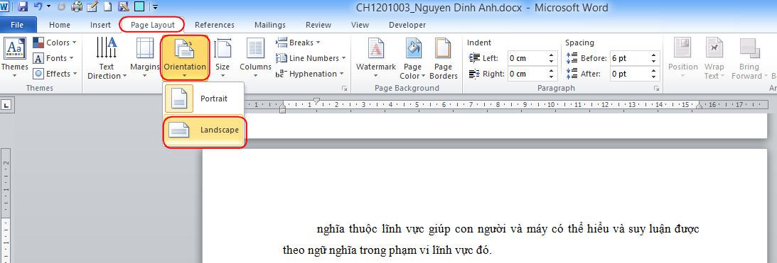 Xoay ngang trang giấy trong word